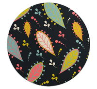 Loud Universe - Mouse Pad Round Black Nature Leaves ...