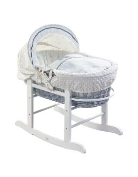 Kinder Valley Showered with Love Grey Wicker Moses Basket with White Rocking Stand
