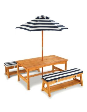 KidKraft Outdoor Table & Bench Set with Cushions & Umbrella Navy & White Stripes