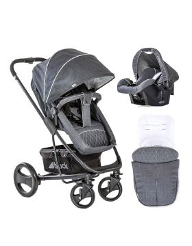Hauck Travel System Pacific 4 Sand with Bag Melange Charcoal X