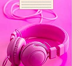 DJ Notebook: Pink Headphones Disc Jockey Book | Music Journal | College Ruled 200 pages