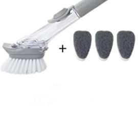 Set of 4 Soap Dispensing Dish Brush Dish Washer Scrubber Brush for Kitchen Sink Pot Brush With 3Replacement Sponge Heads
