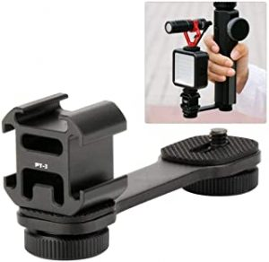 Cochanvie PT-3 Triple Cold Shoe for LED Microphone board Video Light Extension Bracket Platform Stand for iPhone Huawei Zhiyun Smooth 4 / OSMO Mobile 2 / Feiyu Vimble 2 SPG2