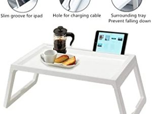 Folding Bed Table Tray Laptop Desk Stand with Fordable Legs Table Slot Cable Hole Plastic Multipurpose for Eating Reading Working Watching Movie on Bed Couch Sofa White