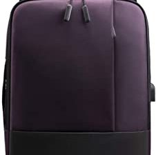 Mens Business Laptop Backpack YUTU Casual Six-Portable Multi-Function Waterproof Travel Outdoor Solid Color Shoulder Handbag School Bag (Purple)