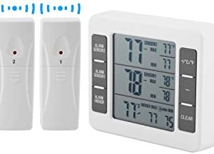 Akozon Digital Refrigerater Therometer LCD Wireless Digital Freezer Audible Alarm Refrigerator Thermometer with 2PCS Sensor Min/Max Display for Indoor Outdoor(Battery not Included)