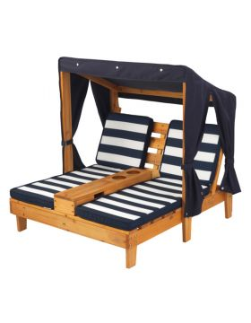 KidKraft Double Chaise Lounge with Cup Holders Honey & Navy