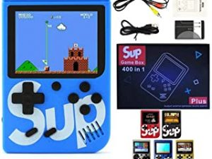 SUP Game Box Plus 400 in 1 Retro Games UPGRADED VERSION mini Portable Console Handheld Gift By PRIME TECH ™ (Blue)