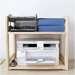 Printer Desktop Stands Adjustable Printer Stand 2 Tier Wood Multifunction Storage Rack Multi-Purpose Desk Organizer for Fax Machine
