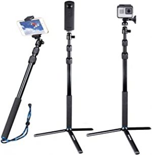 Smatree Telescoping Selfie Stick Compatible for GoPro Hero Fusion/7/6/5/4/3+/3/Session/GOPRO Hero(2018)/DJI OSMO Action Camera/Ricoh Theta S/V/Samsung Gear360/YI 4K/OSMO Mobile 2 and Cellphones