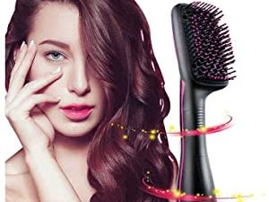 One Step Hair Dryer and Styler Negative Ionic Hot Air Paddle Brush Electric Blow Dryer Hair Straightener Tourmaline Technology Generator for All Hair Types Promote Healthy