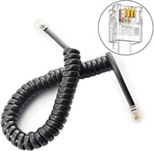 DealMux 2pcs 2m Telephone Handset Cable Standard Coiled Stretchy Landline Phone Cords 4P4C Connector Black