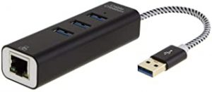 CableCreation 3-Port USB 3.0 Hub with Gigabit Ethernet Adapter 10/100/1000 Mbps Compatible PC