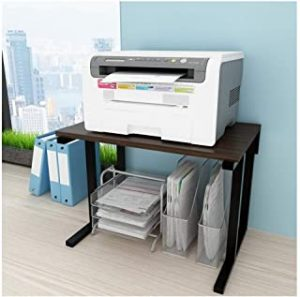 Printer Desktop Stands Printer Stand with 2 Tier Steel-wood Structure Storage Shelves