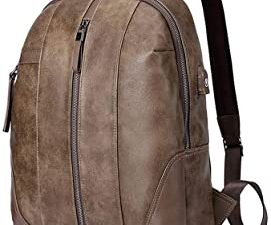 XXEALQ 17 Inch Leather Slim Laptop Backpack For Men Canvas Backpack Men Usb Laptop Backpack 1 (Color : Brown