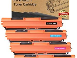 ANNJET Compatible Toner Cartridge Replacement for HP 126A CE310A CE311A CE312A CE313A for Color Laserjet Pro MFP M175nw CP1025nw M275 M275NW (1 Black
