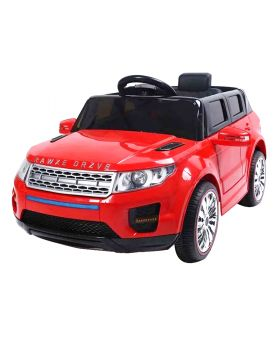 Megastar Ride Ons 12v Range Rover Style Kids Car with Power Steering And Trolley Red