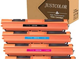 JUSTCOLOR Compatible Toner Cartridge Replacement for HP 126A CE310A CE311A CE312A CE313A for Color Laserjet Pro MFP M175 M275 CP1025nw Laser Printer(1 Black