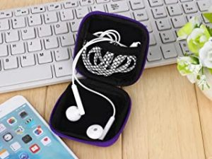 Grandey 1Pc Headphones Earphone Cable Earbuds Storage Hard Case Carrying Pouch bag SD Card Hold box Orange