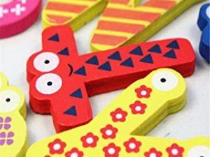 Tuscom Colorful Cute 26 Letters Wooden Cartoon Fridge Magnet kid's Baby Educational Toy