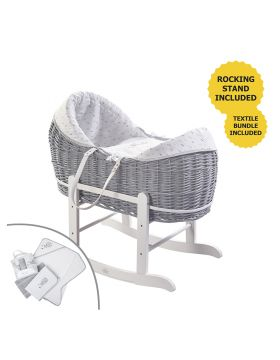 Kinder Valley Sleepy Little Owl Grey Pod Moses Basket with White Rocking Stand