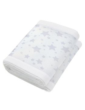 Breathable Baby Mesh Crib Liner Twinkle Twinkle White With Grey Stars