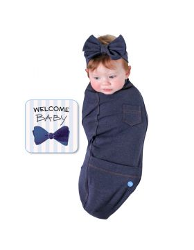 BABYjoe - Baby Cocoon Swaddle with Hat and Announcement Card - Blue Jean Baby