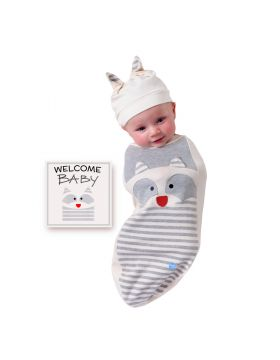 BABYjoe - Baby Cocoon Swaddle with Hat and Announcement Card - Raccoon Baby