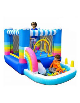 Myts Inflatable Bounce Houses Jumper Small Ball Pit Water Pool Rainbow Design
