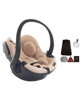 iZi Go Modular iSize Car Seat Ivory Melange With Accessory Kit for Rear Facing Car Seats Black