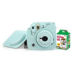 Fujifilm INSTAX Mini 9 Instant Film Camera Ice Blue + Leather Bag + 20 Mini Sheets