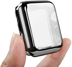 Environmental Anti-Resistant Soft TPU Lightweight 38mm Apple watch Case All-Around Protective Screen Protector Compatible Apple Watch Series 4 Series 3 Series 2 - Black