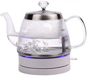 Glass Glass Electric Kettle- 1.0 Liter Blue Led Illuminated Portable Office Auto Power Off Stainless Steel Quick Boil Tea Jug Kettle