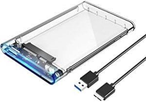 ORICO 2.5 USB 3 External Hard Drive Enclosure Casing for 2.5 inch 7mm/9.5mm SATA HDD SSD Support UASP SATA III Max 2TB Tool-Free Design - Clear
