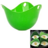 Generic - Silicone Egg Poacher for Microwave Green...