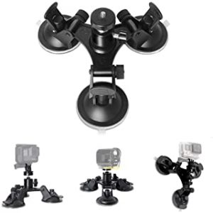Bestmaple Triple Cup DSLR Camera Suction Mount Suction Cup Mount Car Mount Holder for GoPro Hero 7 6 5/4/3 DJI OSMO Action
