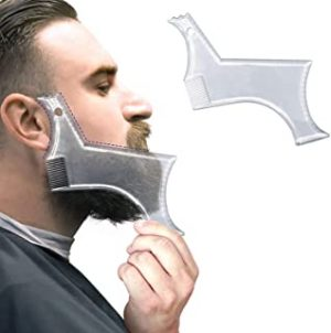 NuSense Beard Guide Shaper Comb Tool or Clear Trimming & Shaving Template - Shaping Stencil With 4 Lines Precise Grooming Control and Transparent Moustache Comb