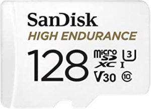 SanDisk 128GB High Endurance Video microSDXC Card with Adapter for Dash cam and Home Monitoring Systems - C10