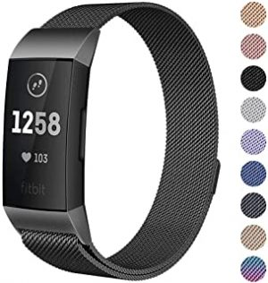 Milanese Mesh Metal Bands Compatible for Fitbit Charge 3 / Charge 3 SE Bands Women Men Small/Large