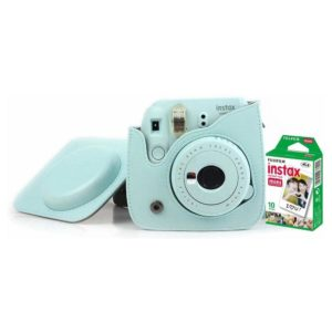 Fujifilm INSTAX Mini 9 Instant Film Camera Ice Blue + Leather Bag + 10 Mini Sheets