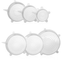 Decdeal - 6pcs Stretch Silicone Lids Clear Airtight ...