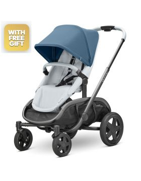 Quinny Hubb Blue Coral On Grey Stroller With Free Maxi-Cosi Cabriofix Car Seat