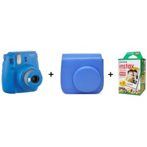 Fujifilm INSTAX Mini 9 Instant Film Camera Cobalt Blue + Leather Bag + 20 Mini Sheets