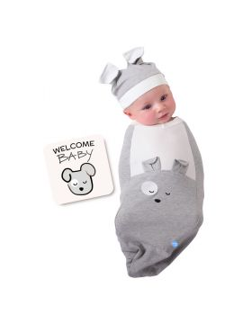 BABYjoe - Baby Cocoon Swaddle with Hat and Announcement Card - Happy Pup