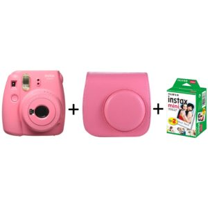 Fujifilm INSTAX Mini 9 Instant Film Camera Flamingo Pink + Leather Bag + 20 Mini Sheets