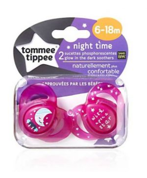Tommee Tippee 2X 6-18M Night Soothers - Pink