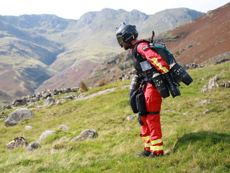Gravity Industries founder and pilot Richard Browning taking part in a test flight of his jet-powered suit at Langdale pikes in the Lake District.