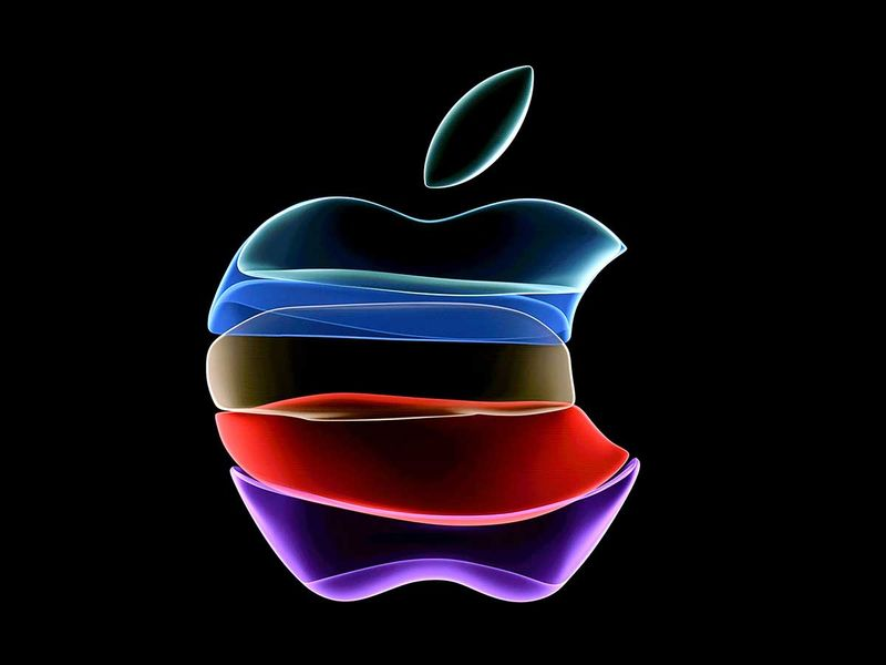 Apple logo is projected on a screen before the start of a product launch event at Apple's headquarters in Cupertino