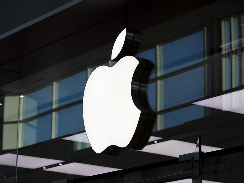 An Apple inc. logo is displayed at their store at Yorkdale mall in Toronto.
