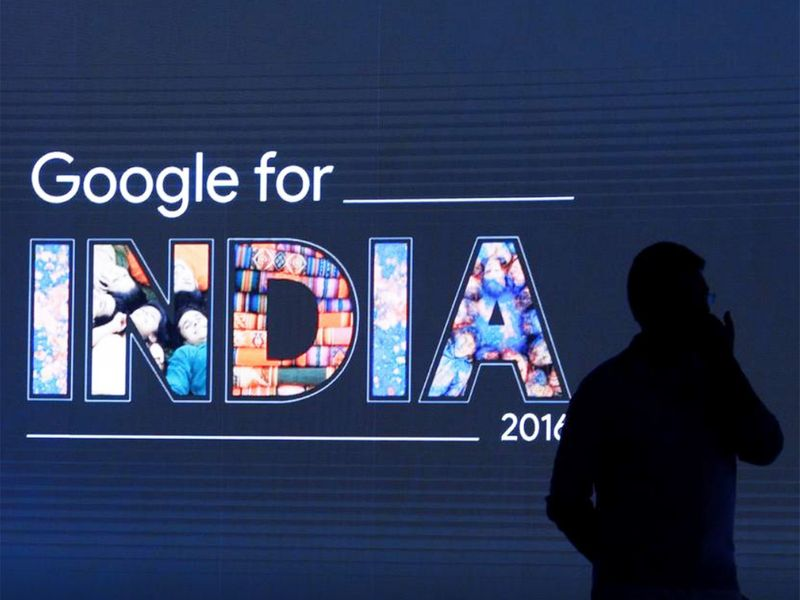 File photo: A man stands in front of a screen during a Google event in New Delhi.